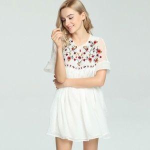 Zara embroidered dress/ jumpsuit